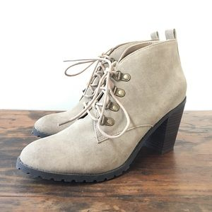 Lace Up Suede Booties